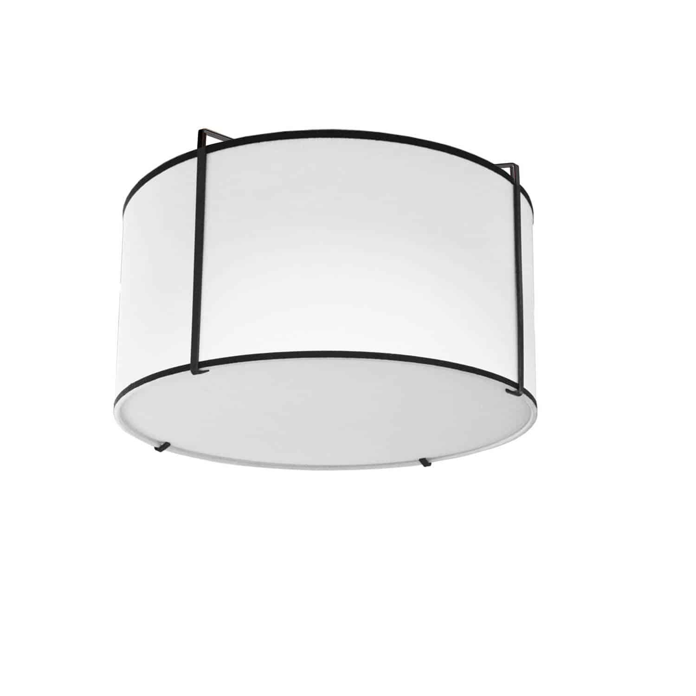 2 Light Flush Mount Drum Black Shade w/ White Fabric Diffuser