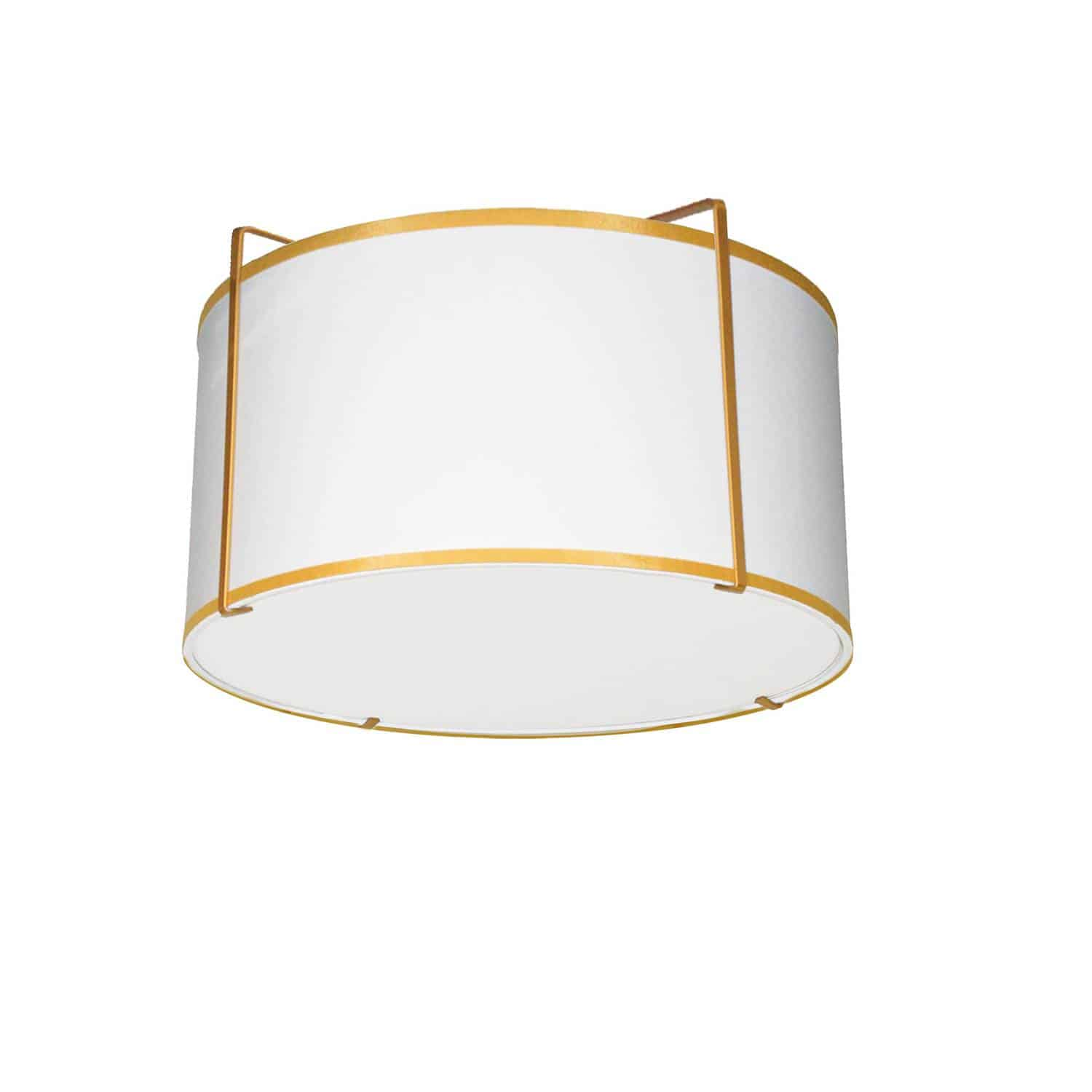 2 Light Flush Mount Drum Gold/White Shade w/ White Fabric Diffuser