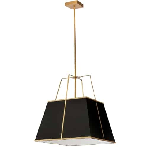 1 Light Gold Pendant Black Shade w/ White Fabric Diffuser