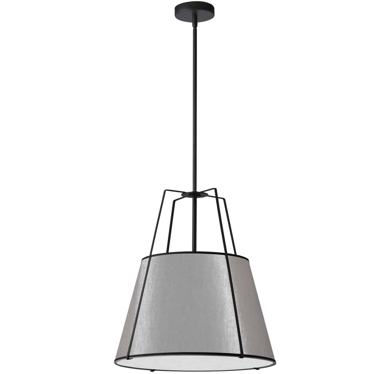 1 Light Trapezoid Pendant Black Grey Shade with 790 Diffuser