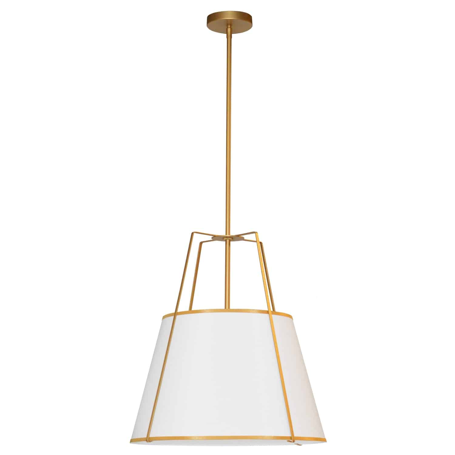 1 Light Trapezoid Pendant Gold frame and White Shade w/ 790 Diffuser