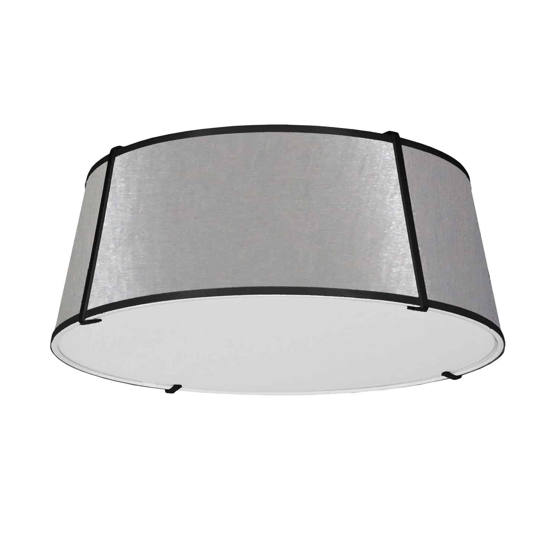 4 Light Trapezoid Flushmount Black/Grey Shade w/ White Fabric Diffuser