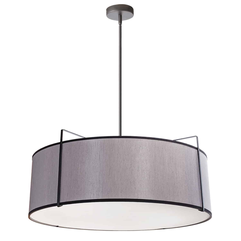 4 Light Drum Pendant, Black/Grey Shade, 790 Diffuser,Black