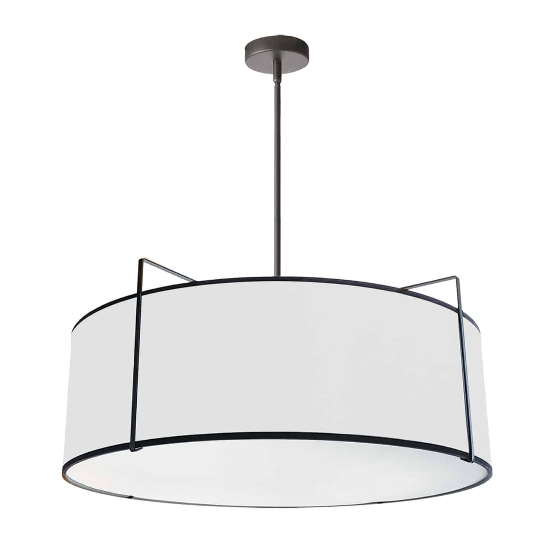 4 Light Drum Pendant, Black/White Shade, 790 Diffuser, Black