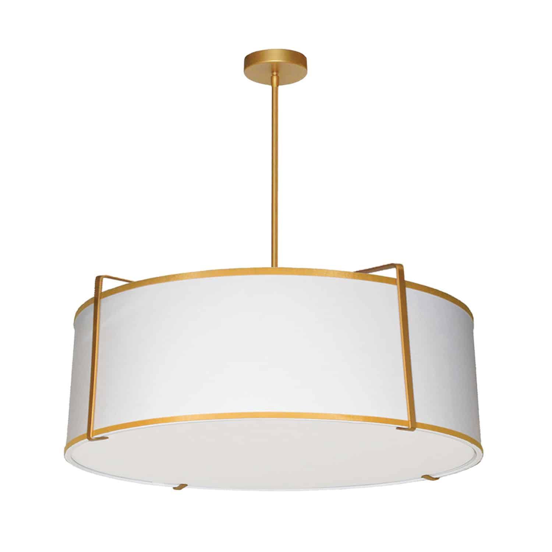 4 Light Drum Pendant, Gold/White Shade, 790 Diffuser,Gold