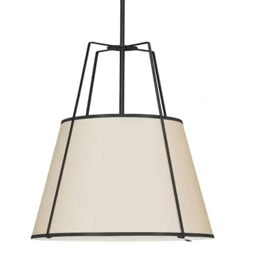 4 Light Trapezoid Pendant Cream Shade w/ White Fabric Diffuser