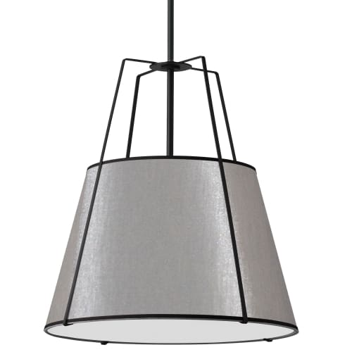 4 Light Trapezoid Pendant Grey Shade w/ White Fabric Diffuser