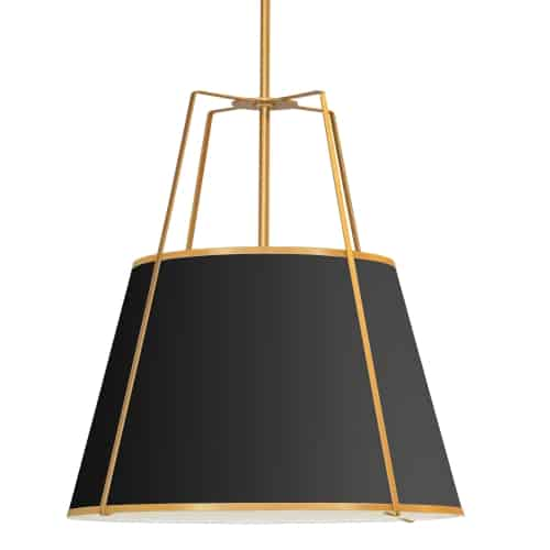 4 Light Trapezoid Pendant Black Shade w/ White Fabric Diffuser