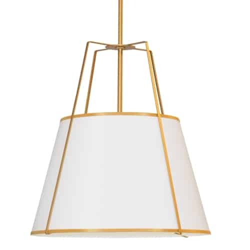 4 Light Trapezoid Pendant White Shade w/ White Fabric Diffuser