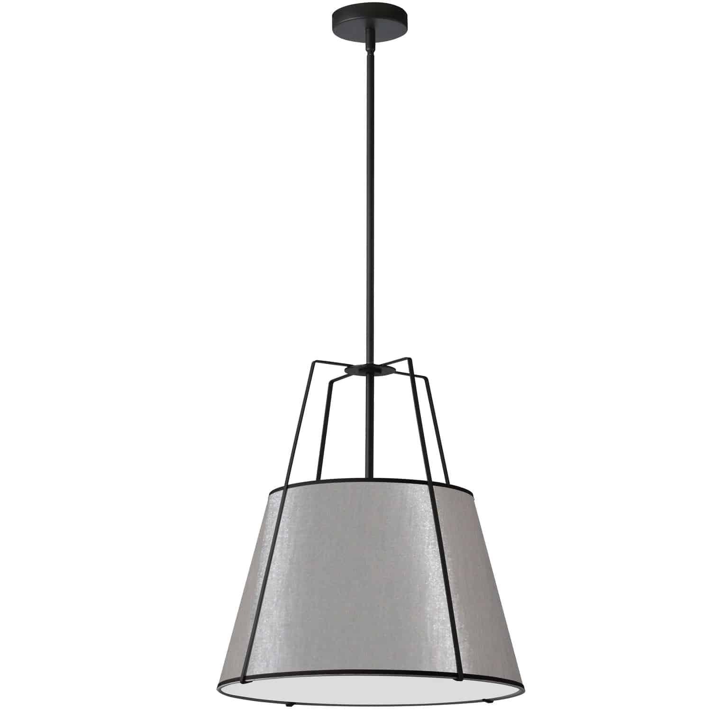 3 Light Trapezoid Pendant Black/Grey Shade w/ White Fabric Diffuser