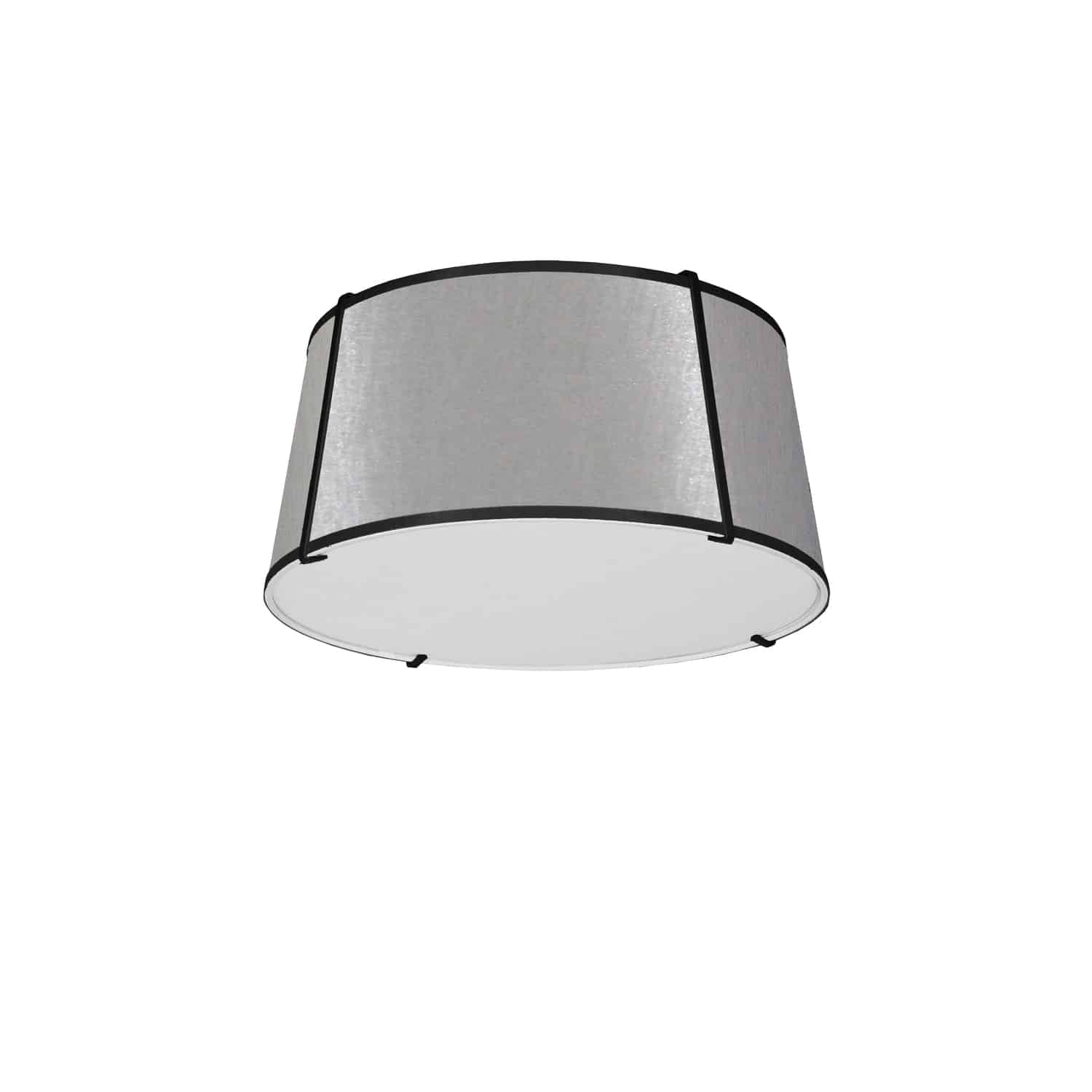 3 Light Trapezoid Flush Mount Black Grey Shade with 790 Diffuser