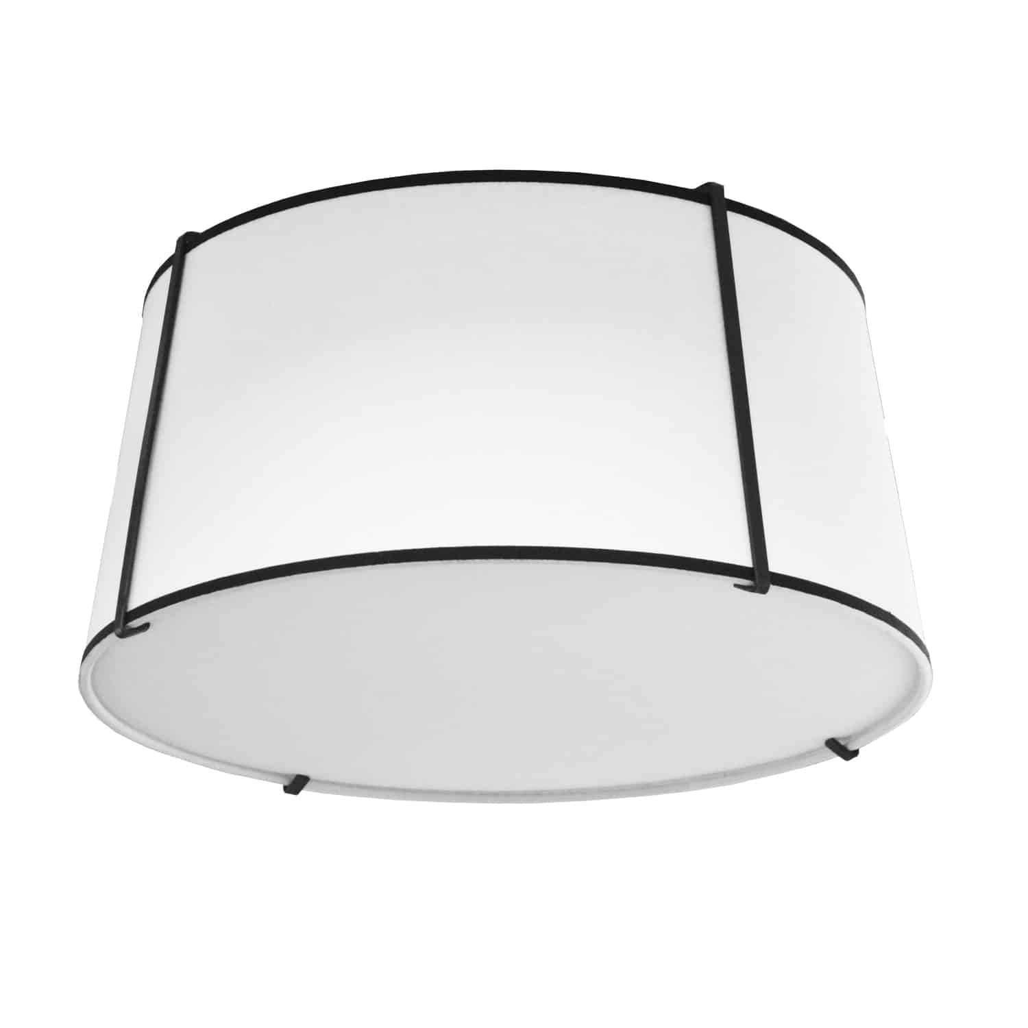 3 Light Trapezoid Flush Mount Black White Shade with 790 Diffuser