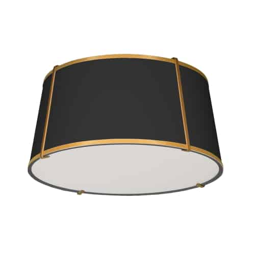 3 Light Trapezoid FlushMount Gold/Black Shade w/ White Fabric Diffuser