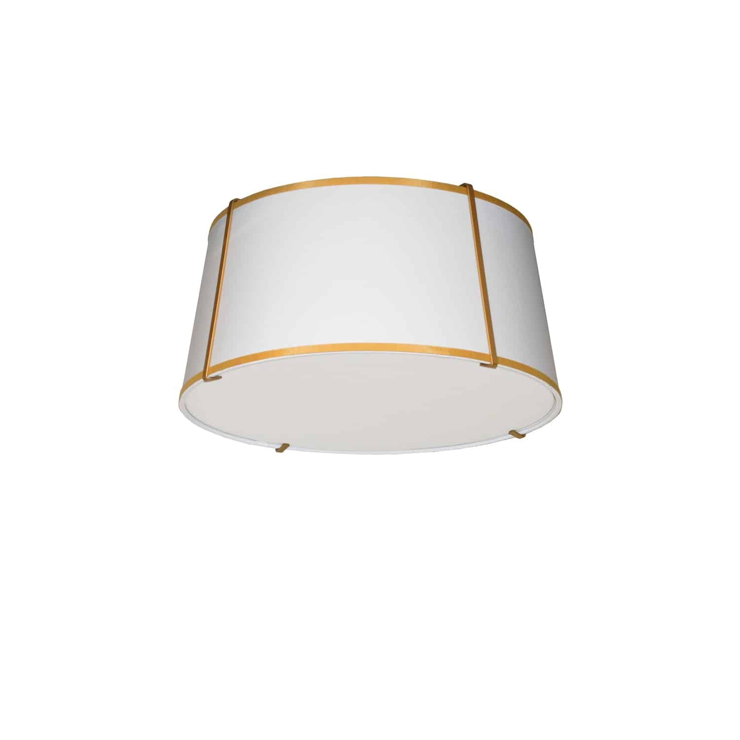3 Light Trapezoid Flush Mount Gold frame and White Shade w/ 790 Diffuser