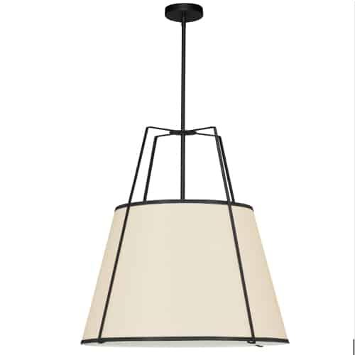 3 Light Trapezoid Pendant Black/Cream Drum Shade w/ White Fabric Diffuser