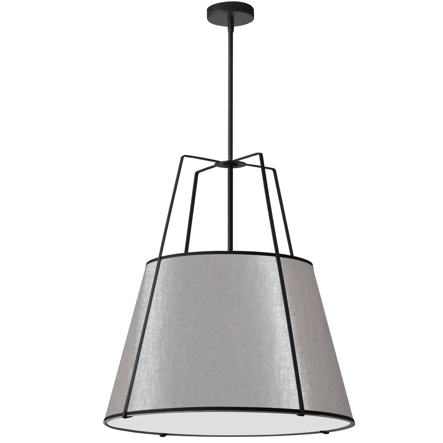 3 Light Trapezoid Pendant Black Grey Shade with 790 Diffuser
