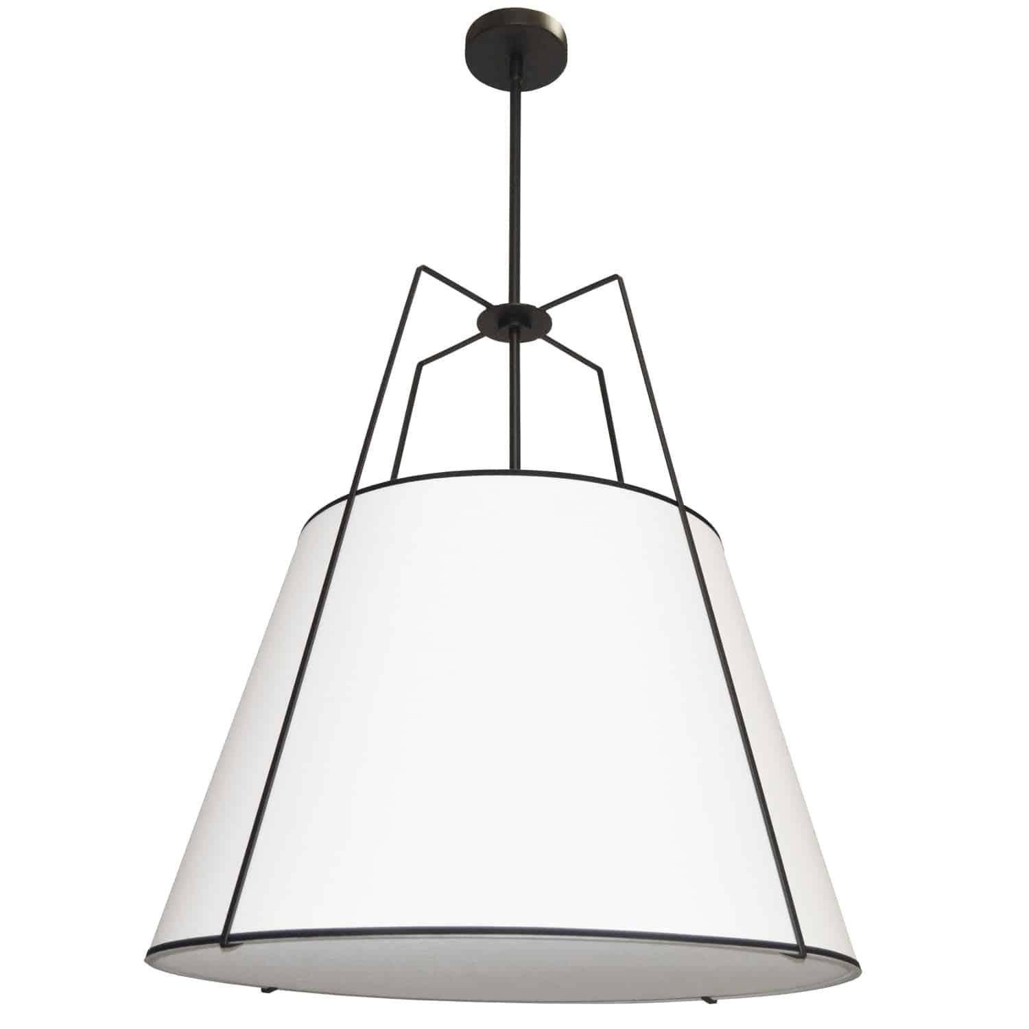 3 Light Trapezoid Pendant Black White Shade with 790 Diffuser