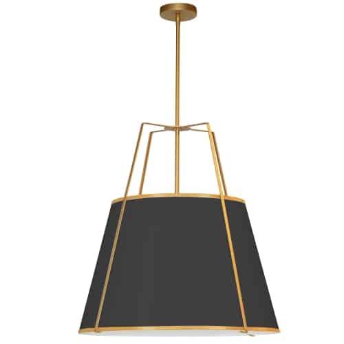 3 Light Trapezoid Pendant Gold/Black Shade w/ White Fabric Diffuser