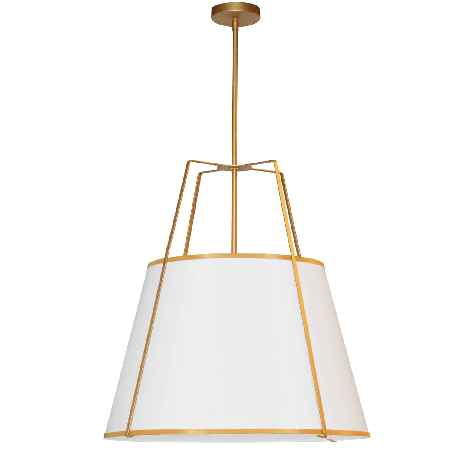3 Light Trapezoid Pendant Gold frame and White Shade w/790 Diffuser