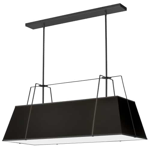 4 Light Horizontal Chandelier Black Shade w/ White Fabric Diffuser
