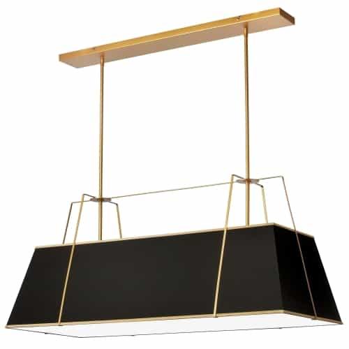 4 Light Horizontal Chandelier Gold/Black Shade w/ White Fabric Diffuser