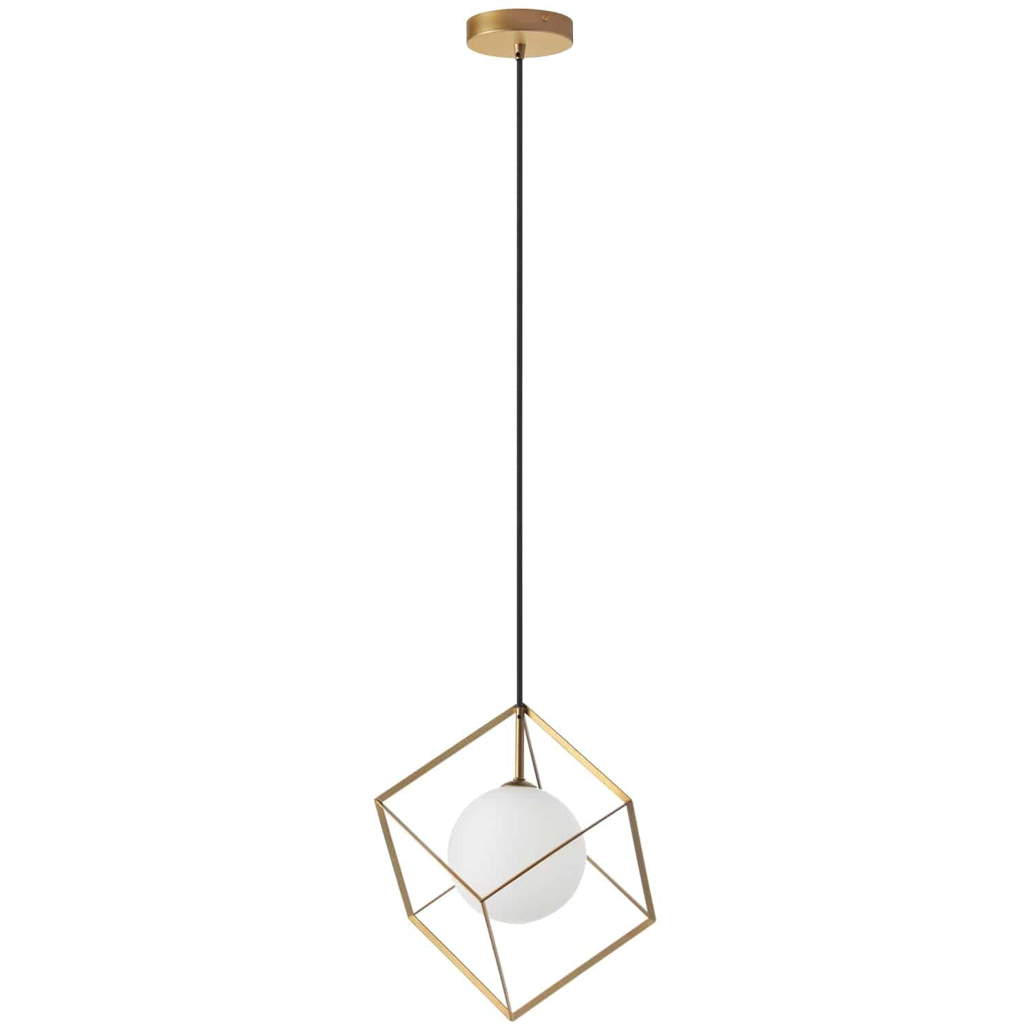 1 Light Halogen Pendant Gold Finish