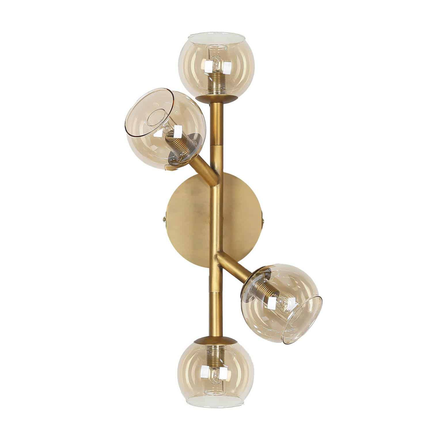 4 Light Halogen Wall Sconce Vintage Bronze Finish with Champagne Glass