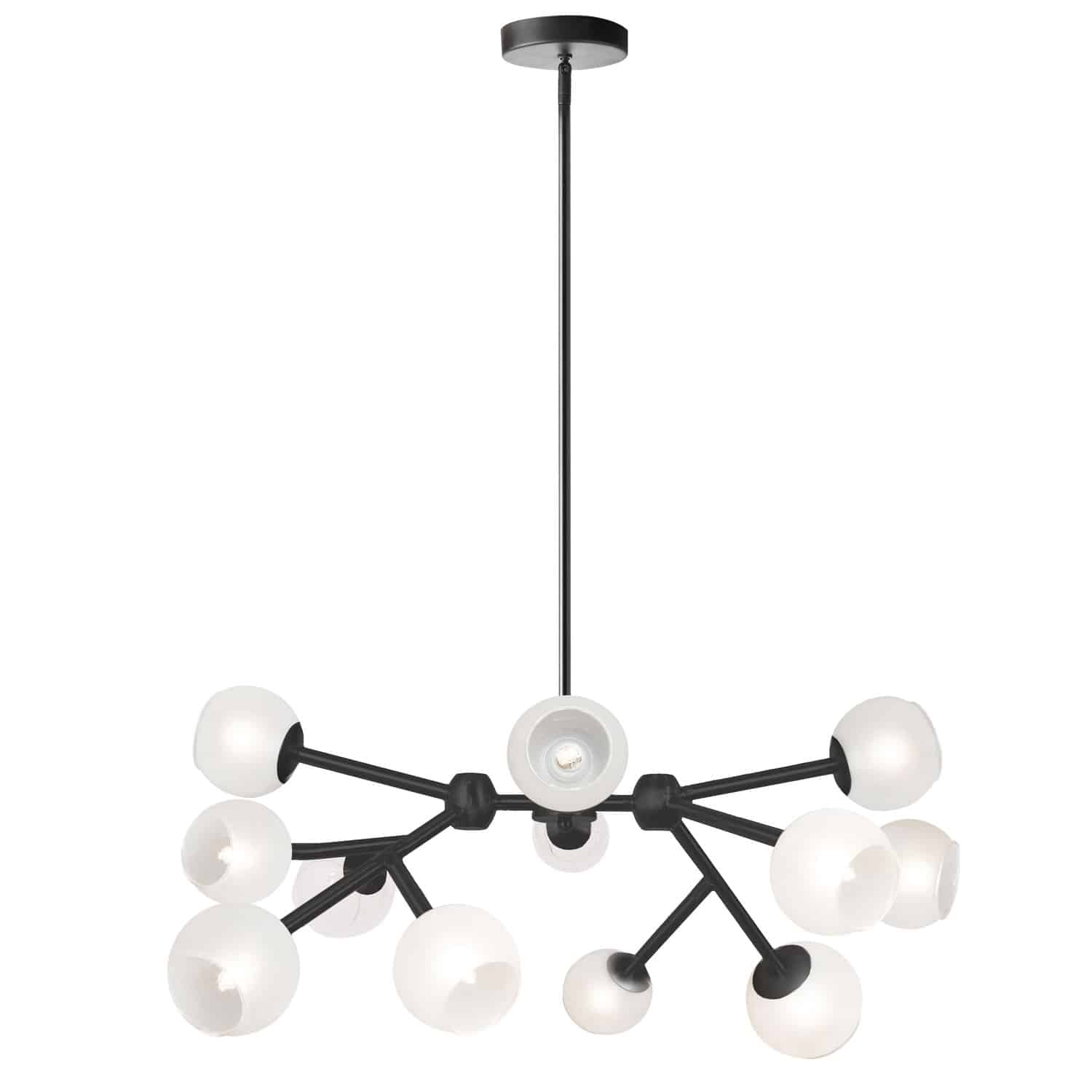 12 Light Halogen Chandelier, Matte Black with Frosted Glass