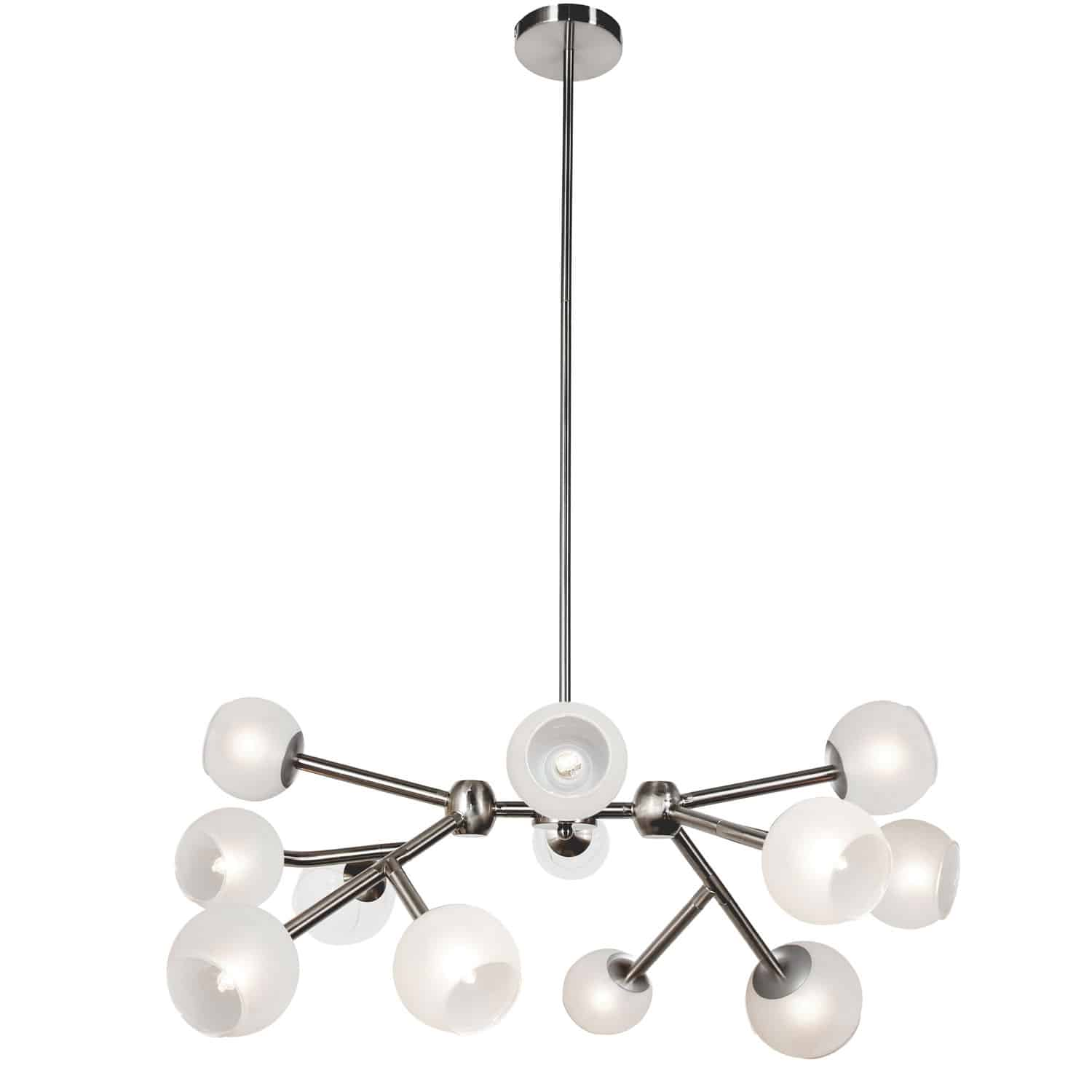 12 Light Halogen Chandelier, Satin Chrome Finish with Frosted Glass