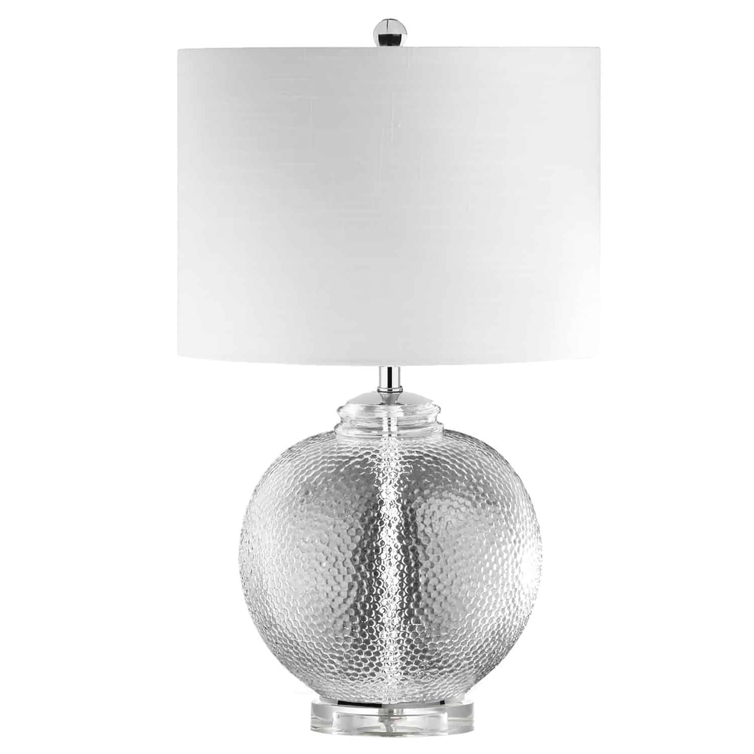 1 Light Incandescent Glass Table Lamp with White Shade