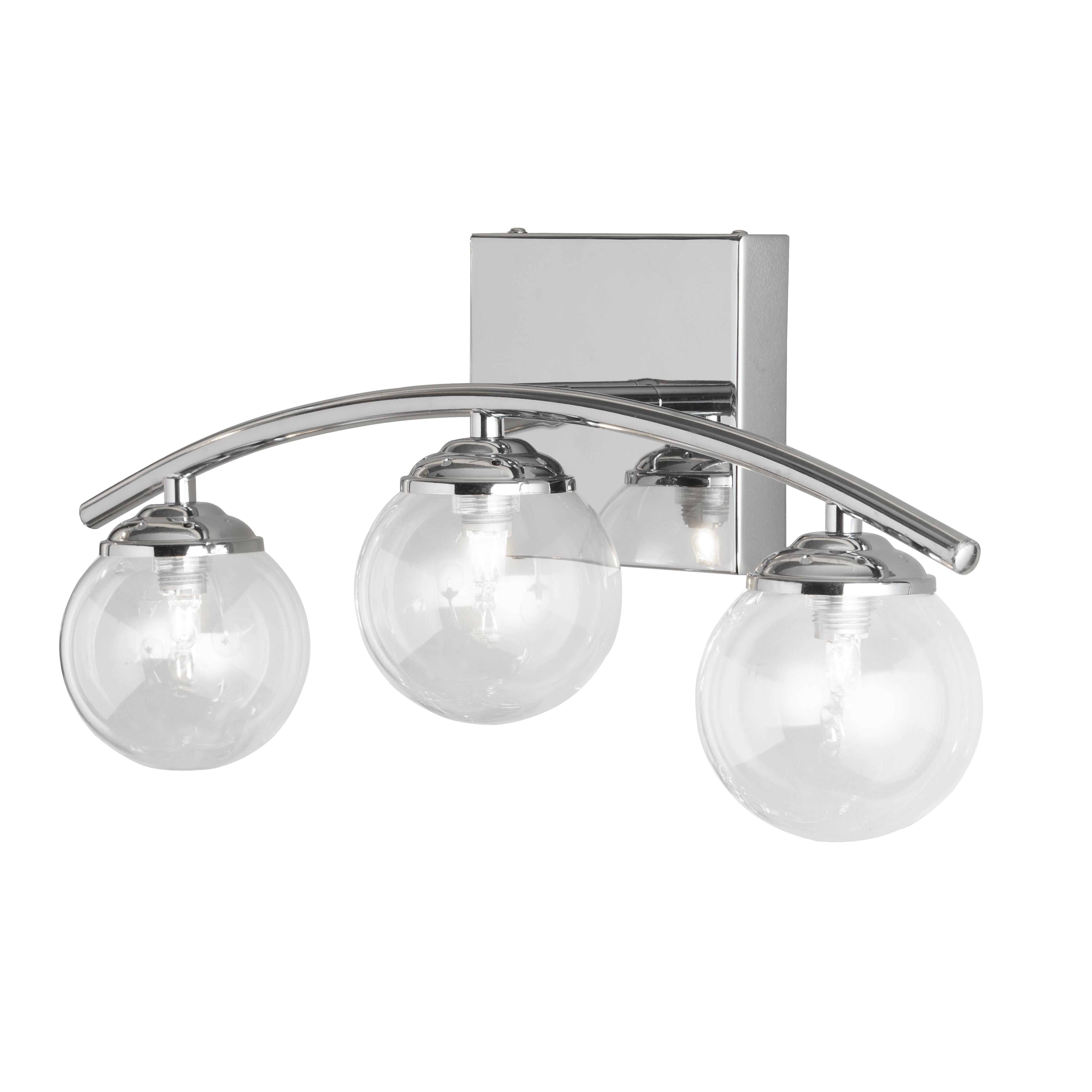 3 Light Vanity, Polished Chrome Finish with Clear Glass