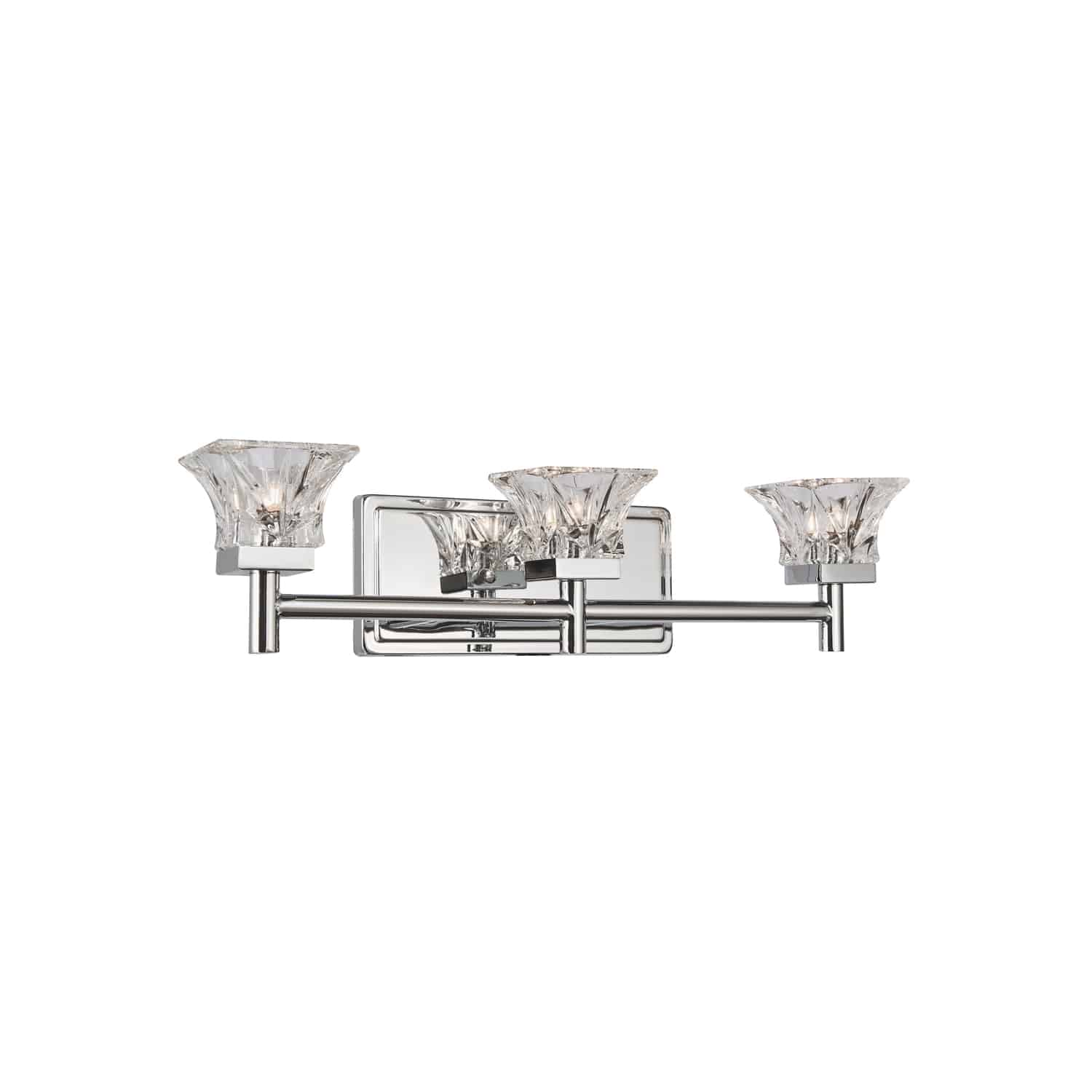 3 Light Halogen Vanity, Polished Chrome Finish with Clear Glass