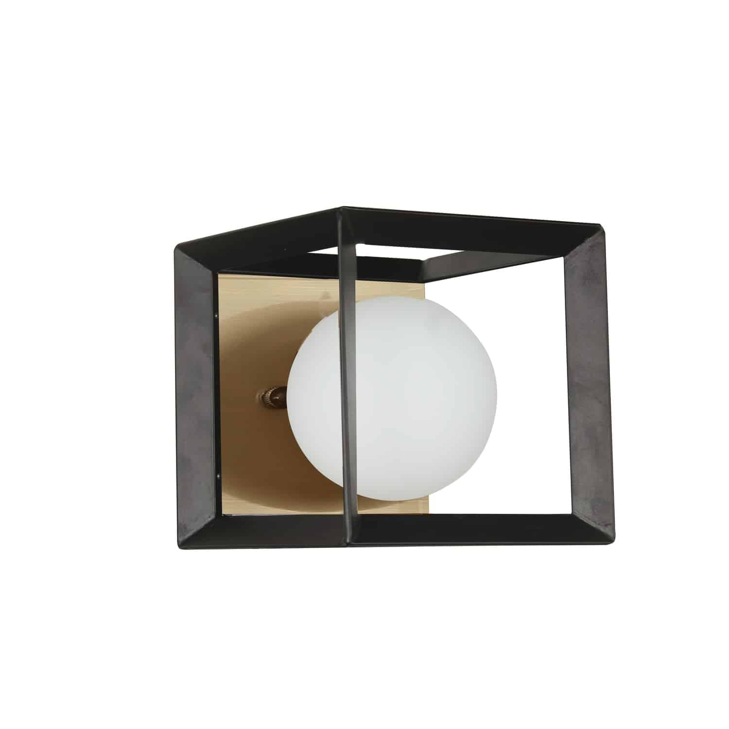 1 Light Halogen Wall Sconce Black and Aged Brass Finish