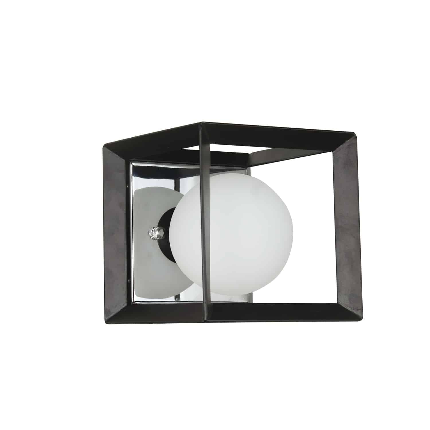 1 Light Halogen Wall Sconce Black and Polished Chrome Finish