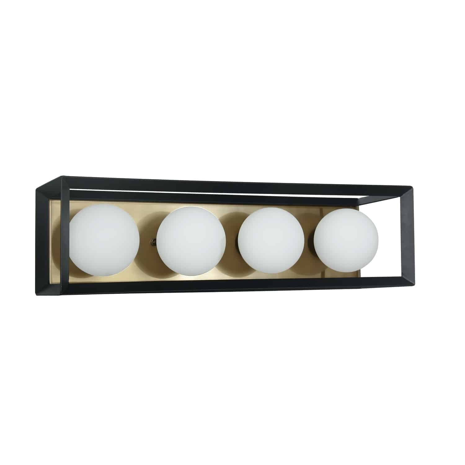 4 Light Halogen Vanity Black and Aged Brass Finish