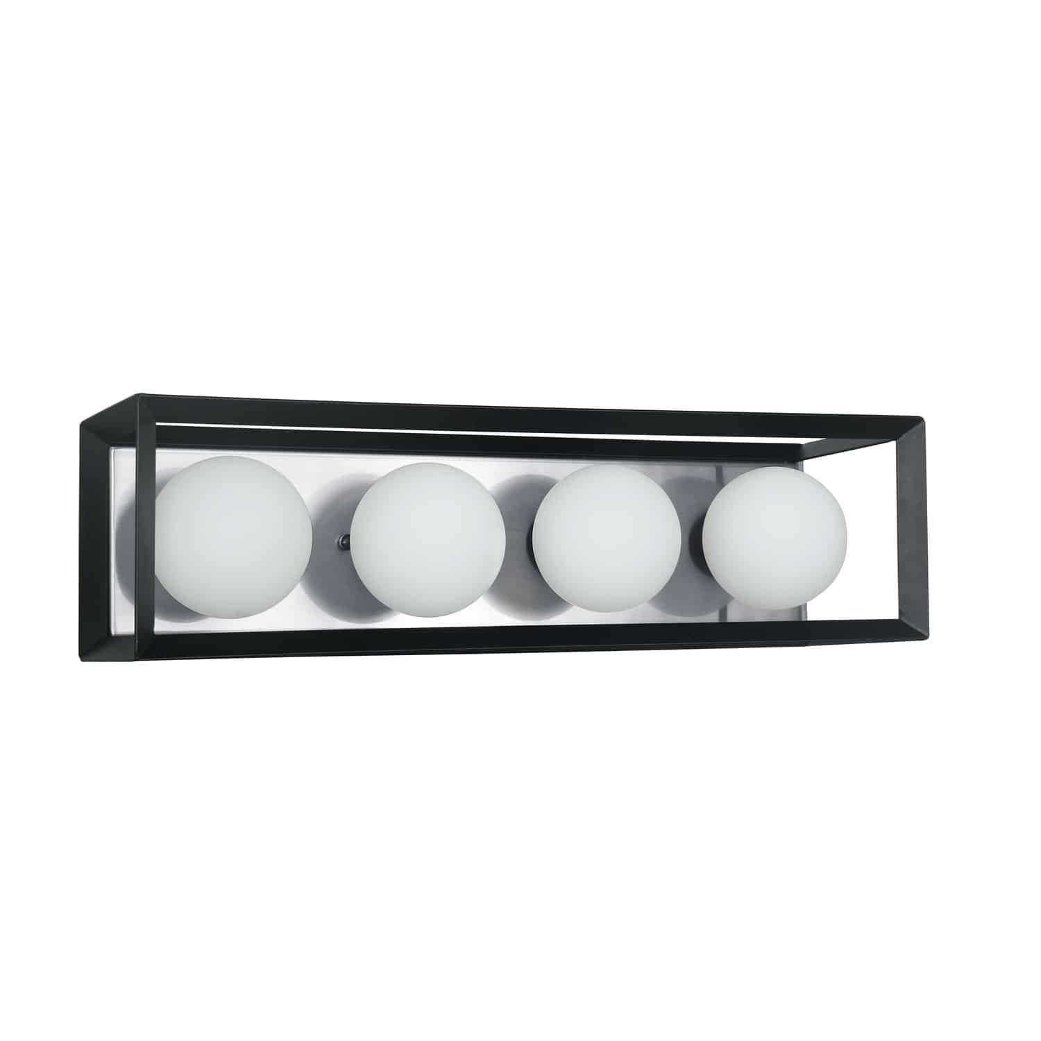 4 Light Halogen Vanity Black and Polished Chrome Finish