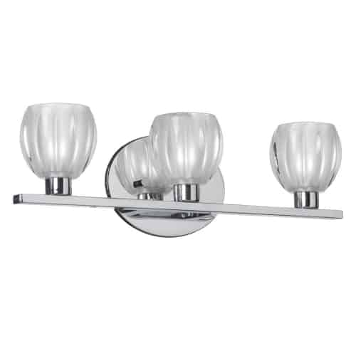 3 Light Vanity, Polished Chrome, Clear Frosted Floral Glass