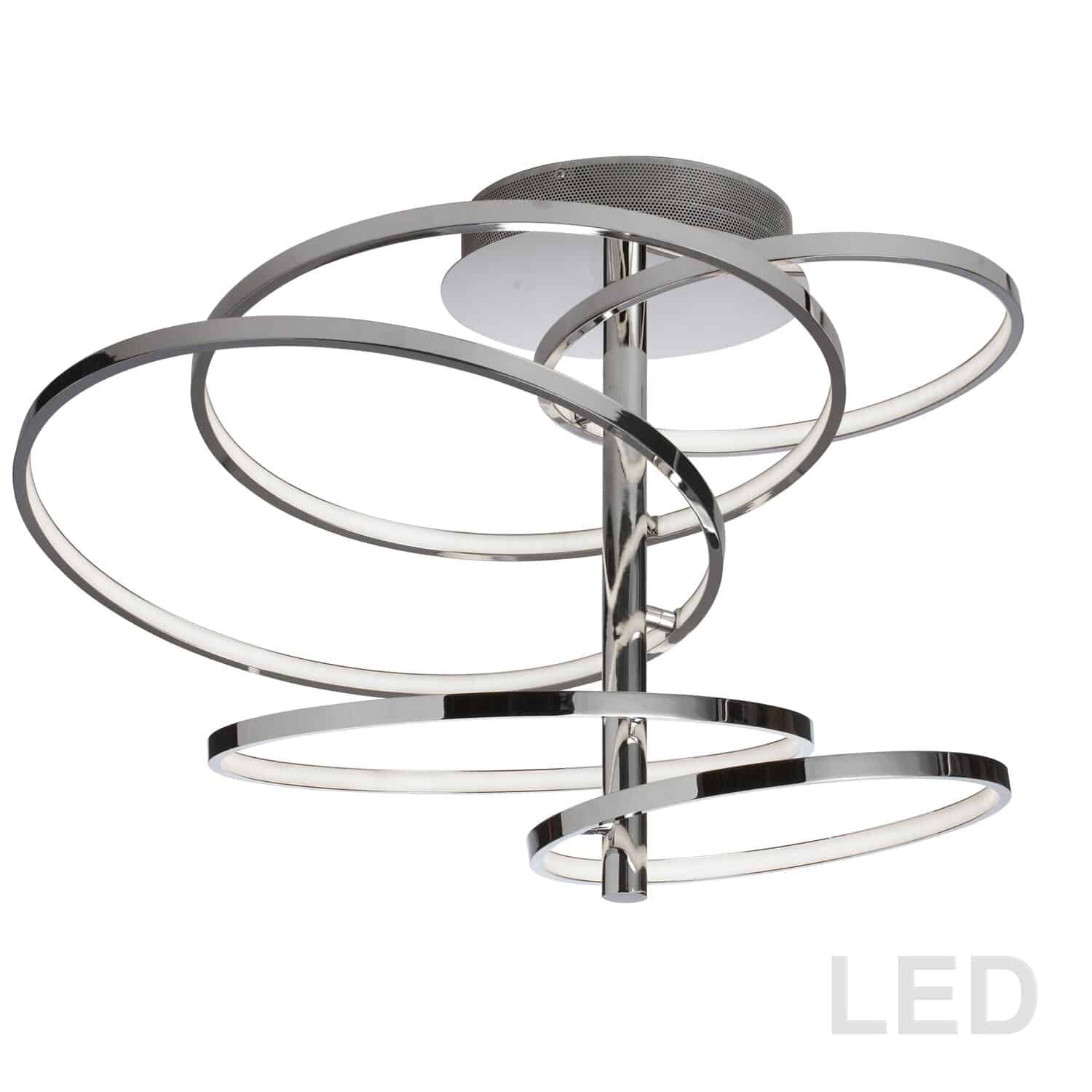 59W LED Semi Flush, Polished Chrome Finish