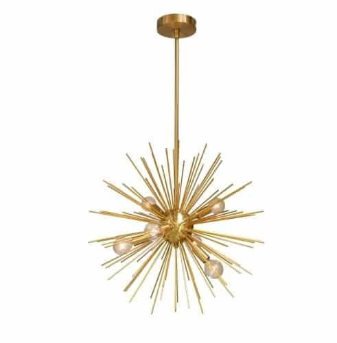 6 Light Pendant, Gold / Vintage Bronze Finish