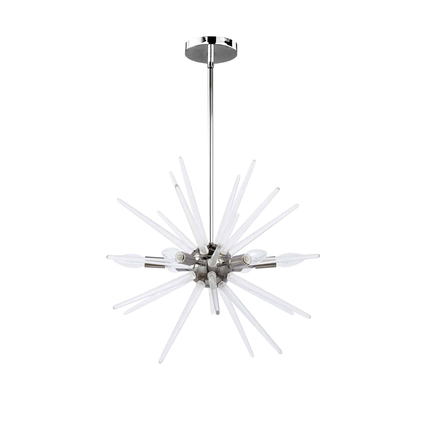 6 Light Incandescent Pendant, Polished Chrome Finish with Clear Acrylic Spikes
