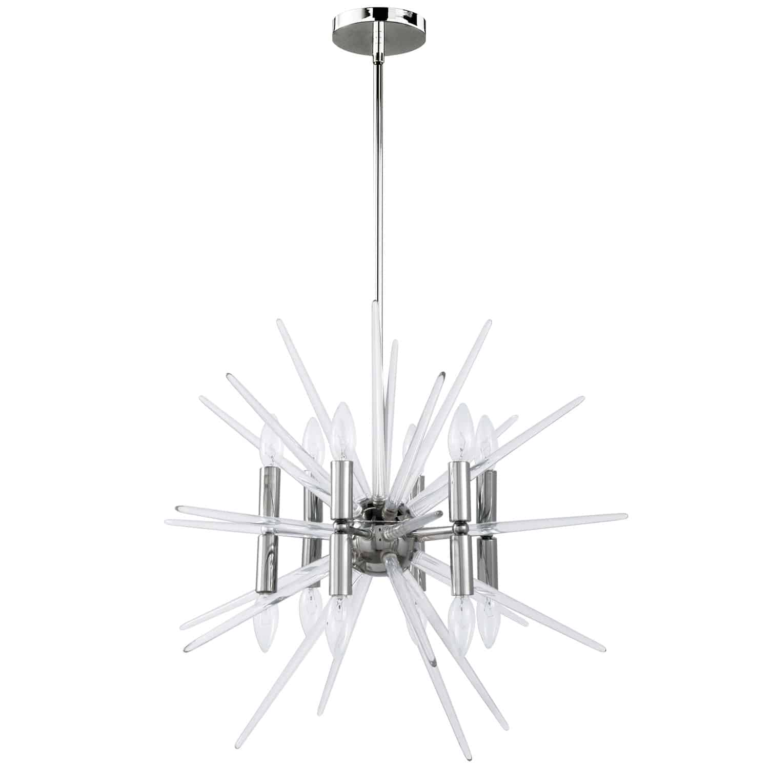 12 Light Incandescent Chandelier, Polished Chrome Finish with Clear Acrylic Spikes