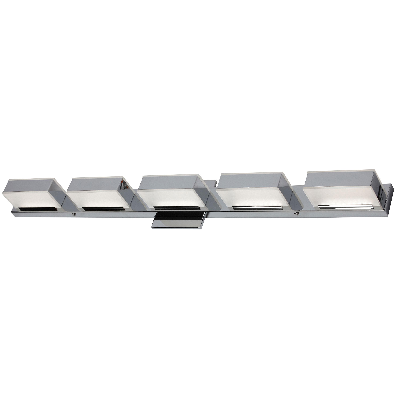 5 Light LED Wall Vanity, Polished Chrome Finish