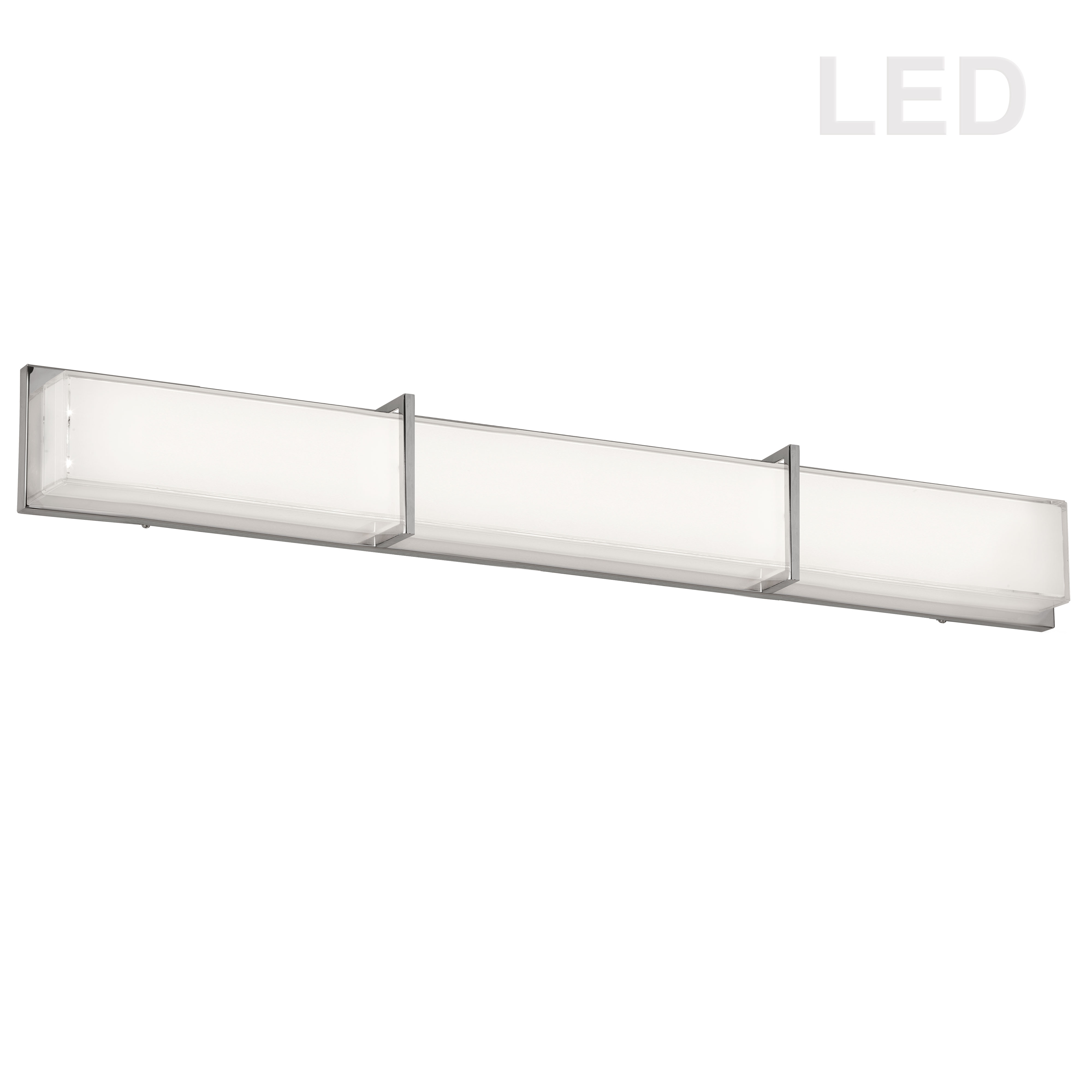 LED Vanity Fixture Polished Chrome White Cased Glass