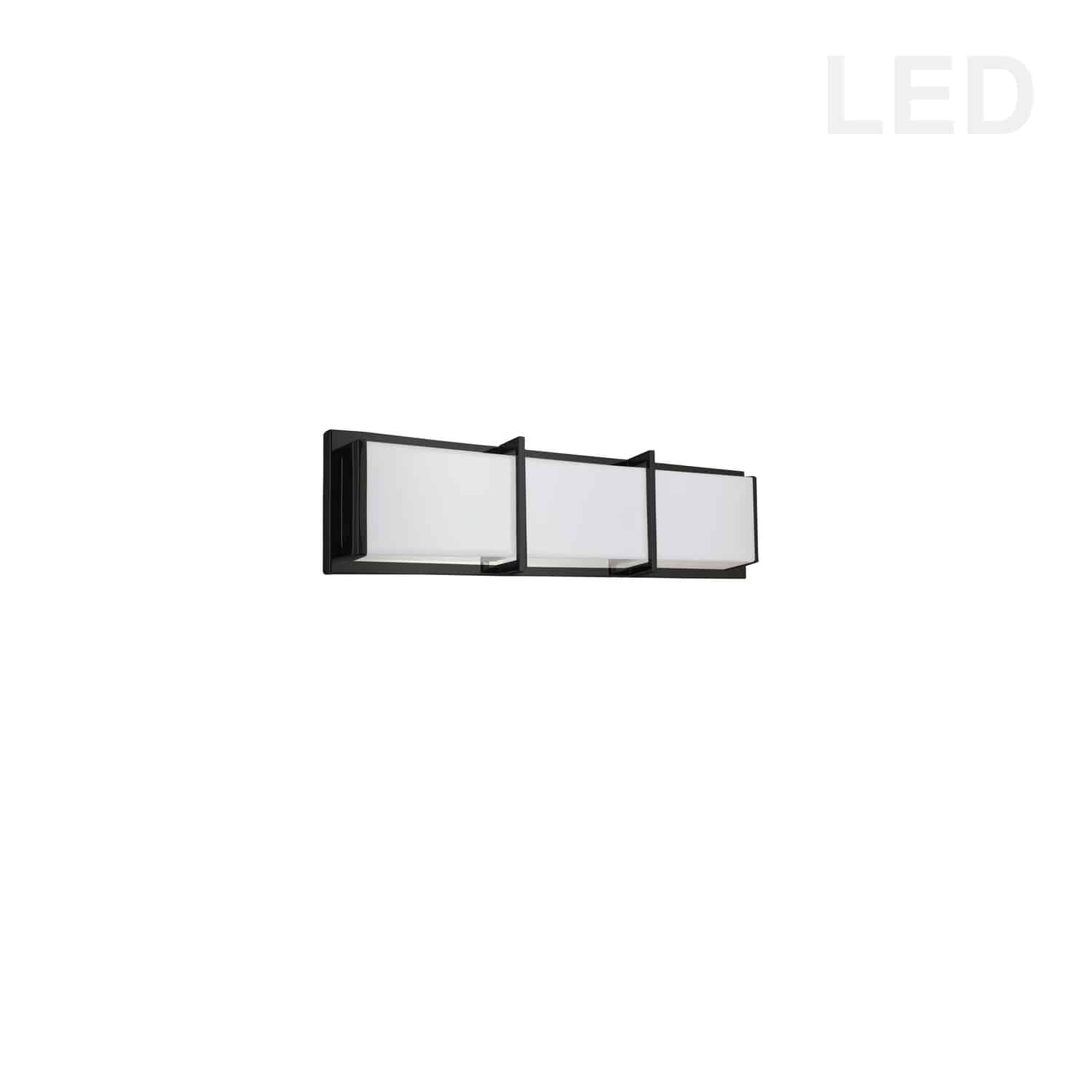 15W Matte Black Vanity Light w/ White Acrylic Diffuser