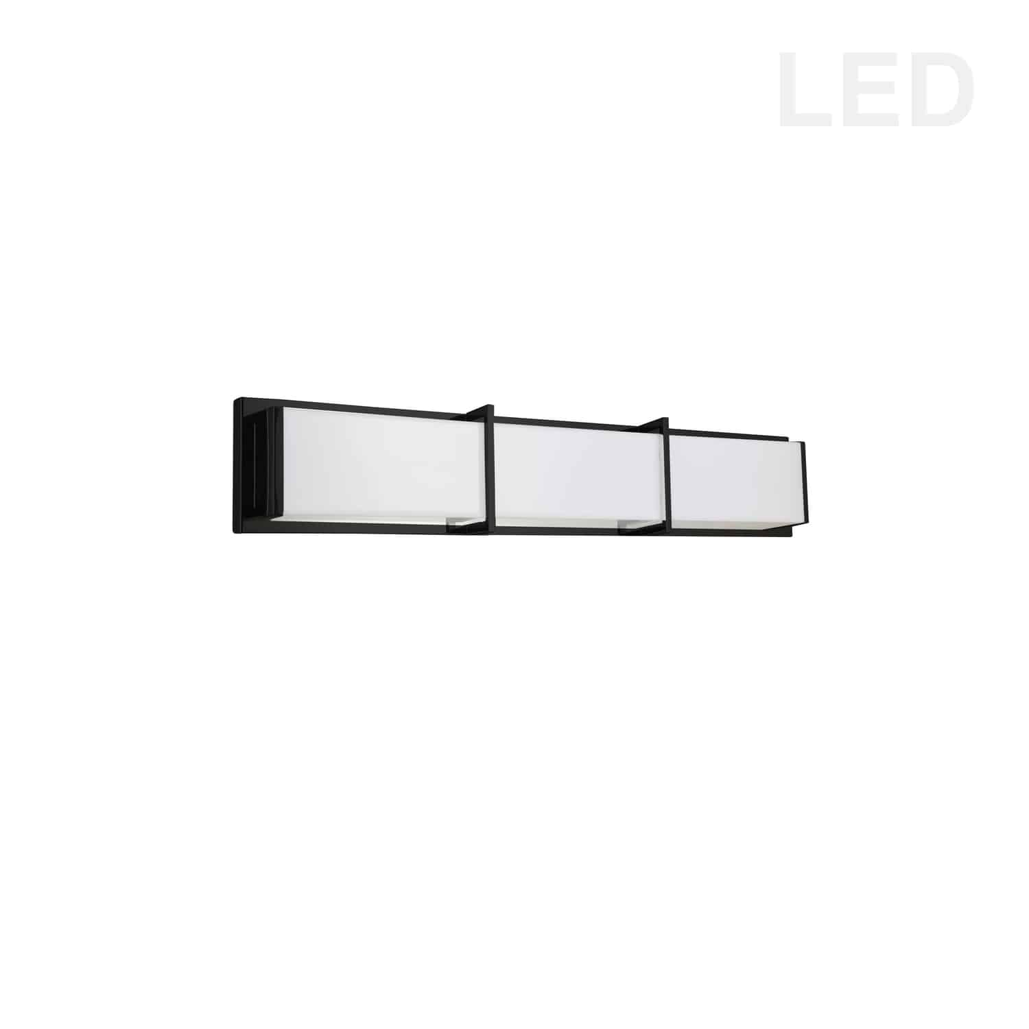 36W Matte Black Vanity Light w/ White Acrylic Diffuser