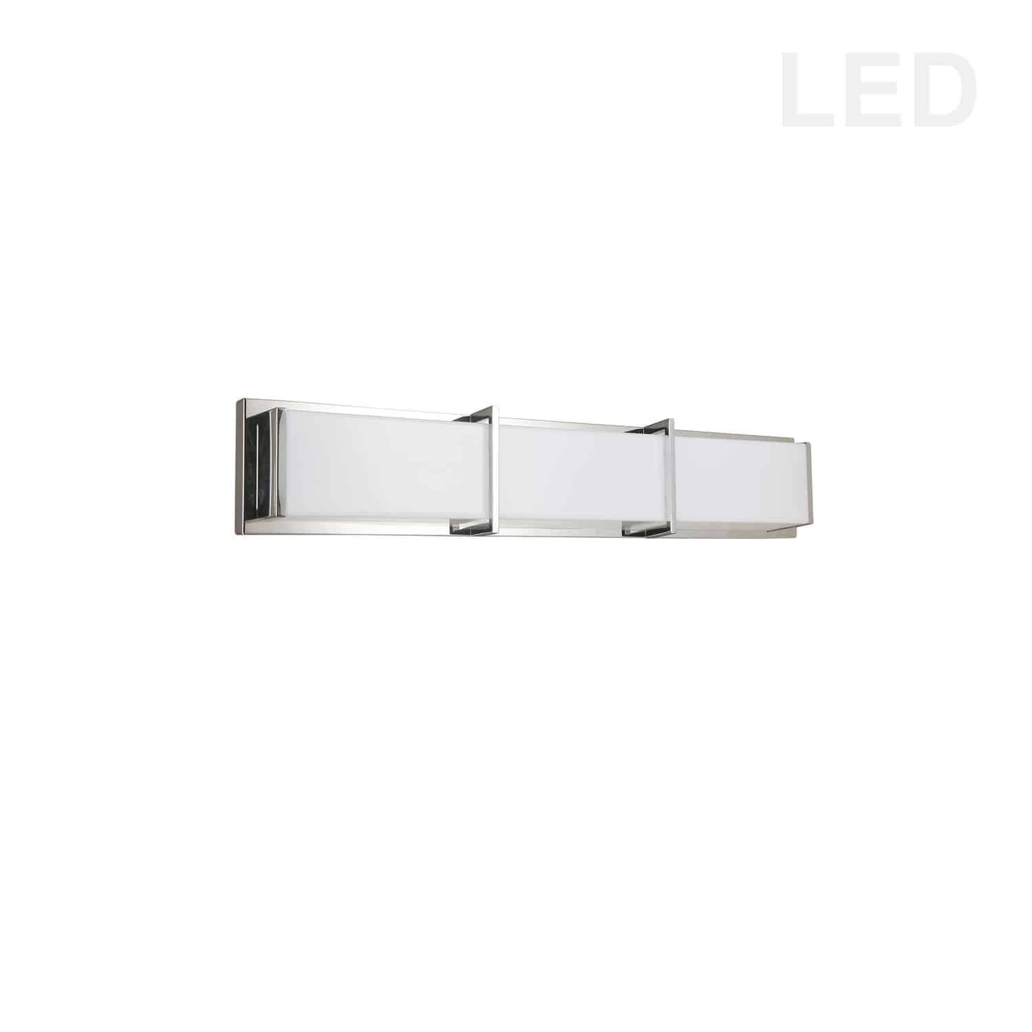 36W Polished Chrome Vanity Light w/ White Acrylic Diffuser