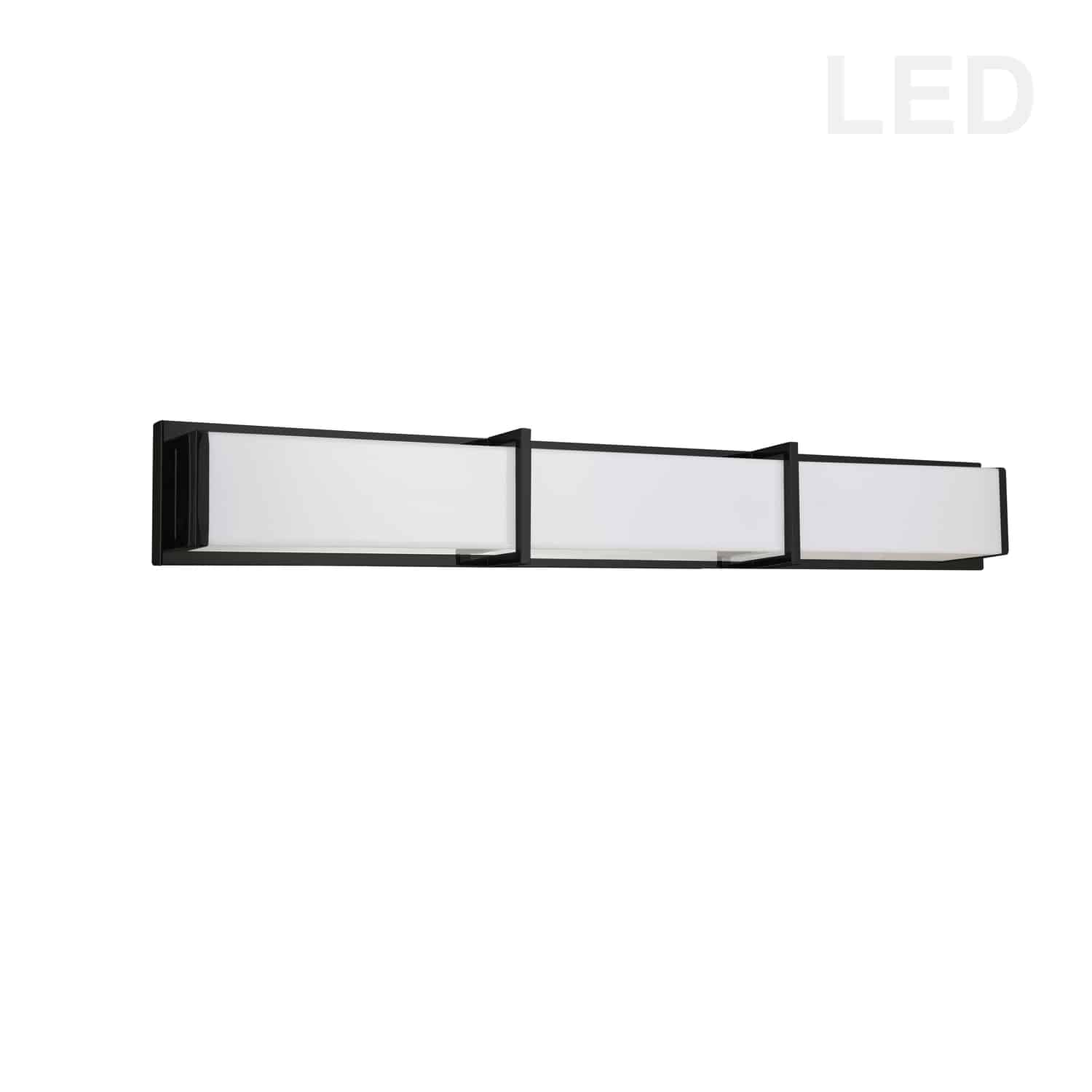 50W Matte Black Vanity Light w/ White Acrylic Diffuser