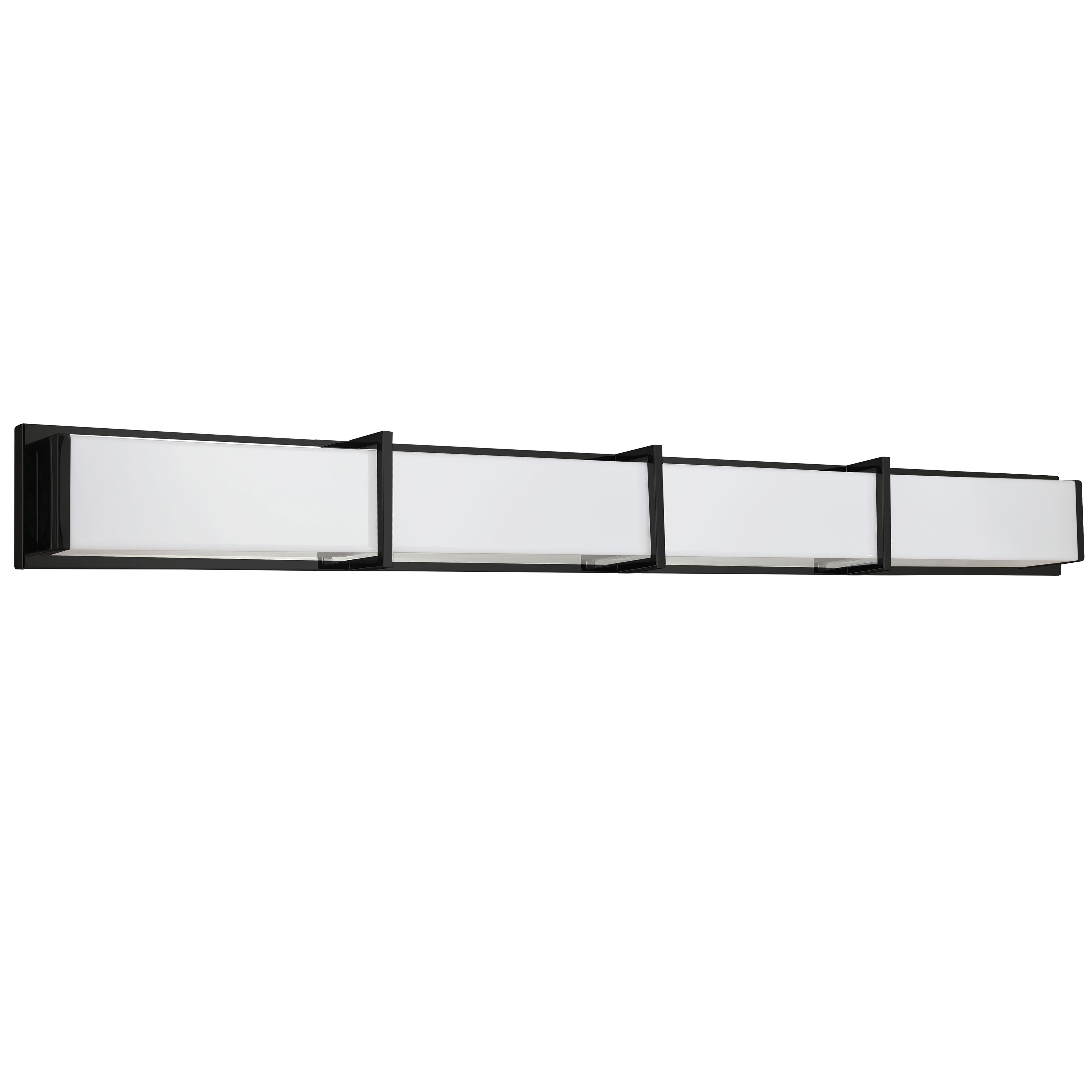 72W Matte Black Vanity Light w/ White Acrylic Diffuser