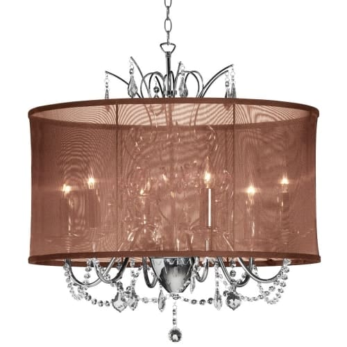 5 Light  Polished Chrome Maple Droplets Crystal Chandelier with Chocolate Brown Organza Shade