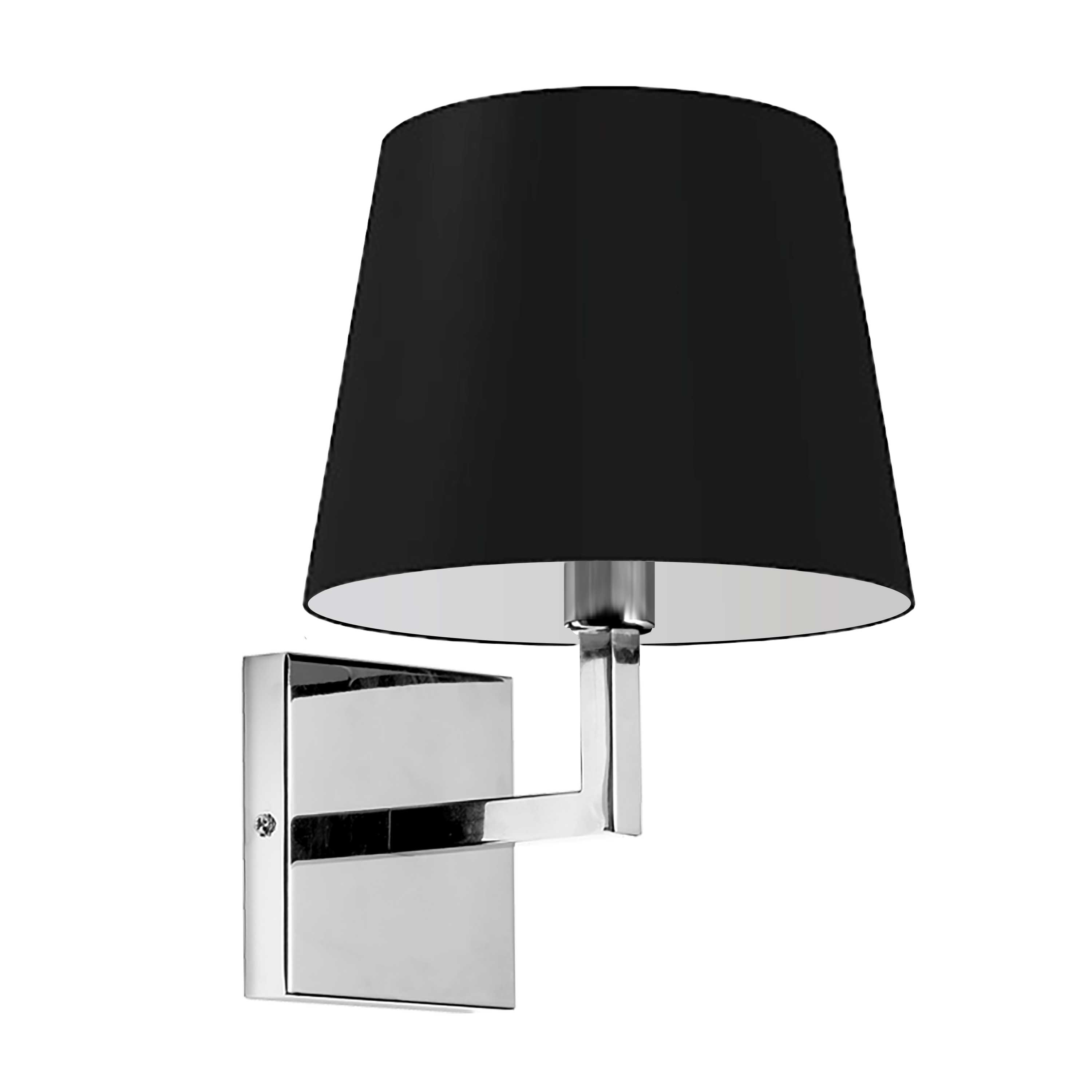 1LT Incandescent Wall Sconce,  PC w/ Black Shade